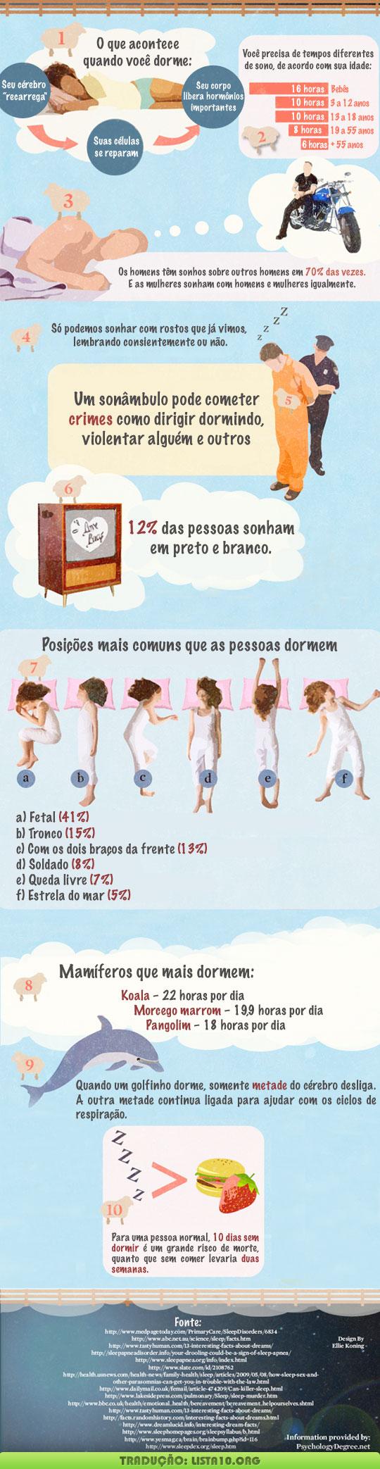 10 curiosidades sobre o sono